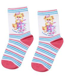 Mustang Ankle Length Socks I Love Gifts Print - White and Coral