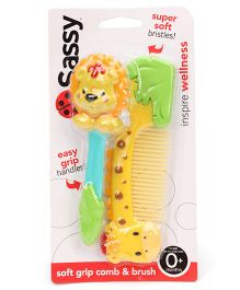 Sassy Soft Grip Comb & Hair Brush - Multi Color