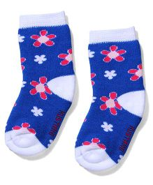 Mustang Ankle Length Floral Design Socks - Blue