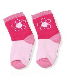 Mustang Ankle Length Floral Design Socks - Pink
