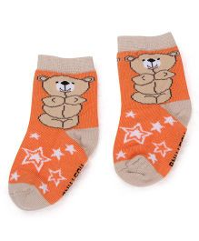 Mustang Ankle Length Socks Teddy Design - Orange