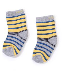 Mustang Ankle Length Striped Design Socks - Yellow