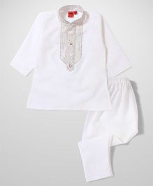 Ethnik's Neu Ron Full Sleeves Kurta And Pajama - White