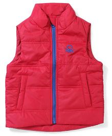 UCB Sleeveless Plain Jacket With Pockets - Red