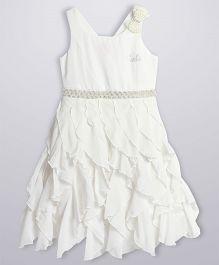 Barbie Sleeveless Asymmetric Pattern Dress Ornate Bow - White