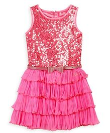 Barbie Sleeveless Party Dress Sequin Work With Belt - Pink
