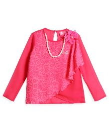 Barbie Long Sleeves Dressy Top With Detachable Pearl Necklace - Pink