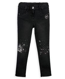 Barbie Slim Fit Jeans With Sequin Work - Black