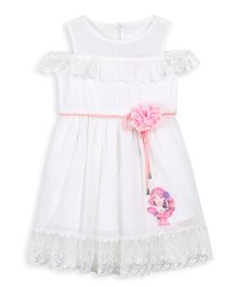 Barbie Shoulder CutOff Dress Graphic Print With Corsage Belt - White