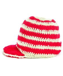 MayRa Knits Brimmed Cap - White & Red