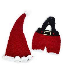 MayRa Knits Pom Pom Cap & Suspender - Red