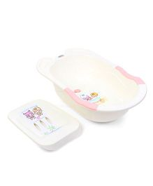 Babyhug Bathtub Cartoon Print - Cream And Pink
