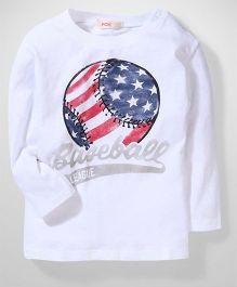 Fox Baby Full Sleeves T-Shirt Baseball Print - White
