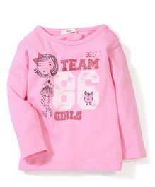 Fox Baby Round Neck Graphic Printed Top - Pink