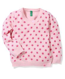 UCB Full Sleeves Sweater Allover Star Design - Pink