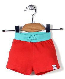 Pinehill Solid Color Shorts - Red And Turquoise