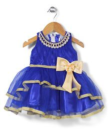 Bluebell Party Wear Frock With Pearl Neckline - Blue
