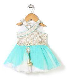 Bluebell Halter Neck Layered Frock With Latkan - Turquoise