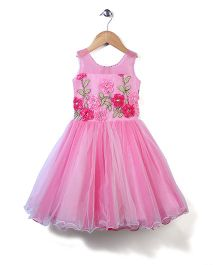 Bluebell Sleeveless Party Frock Floral Appliques - Light Pink