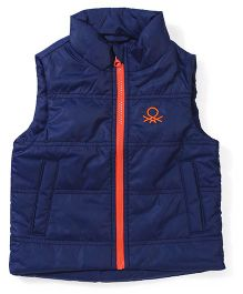 UCB Sleeveless Plain Jacket With Pockets - Dark Blue