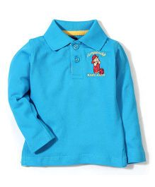 Baby League Full Sleeves Polo T-Shirt - Cyan Blue