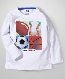 Baby League Full Sleeves Printed T-Shirt Ball Print - White