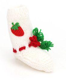 Buttercup From KnittingNani I Love Strawberries Socks - Red & White
