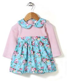 Baby League Full Sleeves Frock Floral Print - Blue