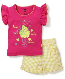 Baby League Flutter Sleeves Top And Check Shorts Ice Cream Print - Pink Yellow