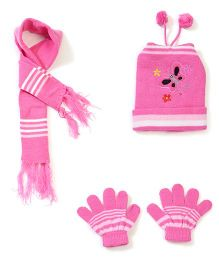 Babyhug Cap Gloves And Muffler Set Butterfly Embroidery - Pink