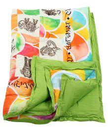 Tura turi Haathi Anek Print Quilt - Multicolour