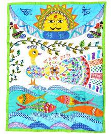 Tura turi Madhubani Mor Print Quilt - Multicolour