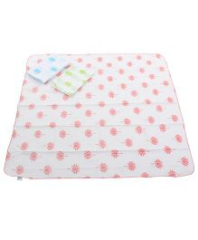 Tura turi Pack Of 3 Swaddles - Blue Green & Pink