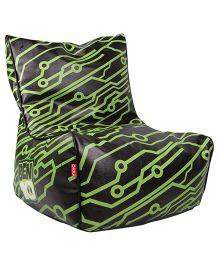 Orka Printed Bean Filled Bag Chair Black - XL