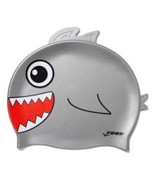 Finis Shark Silicone Swimming Cap - Grey & Red