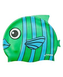 Finis Emerald Fish Silicone Swimming Cap - Green & Blue
