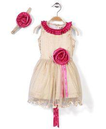 Pinehill Checkered Party Dress With Headband - Cream