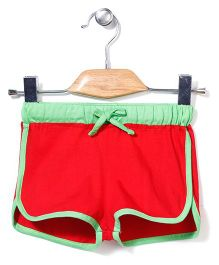 Babyhug Knitted Plain Shorts - Red And Green