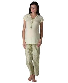 Morph Maternity Pyjama Set With Front Buttons - Light Green