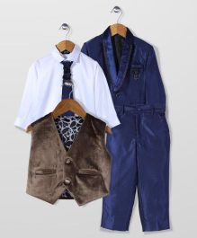 Robo Fry Party Wear 4 Pieces Coat Suit Set - Blue And Brown