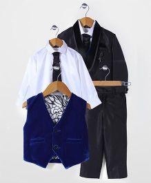 Robo Fry Party Wear 4 Pieces Coat Suit Set - Black Royal Blue