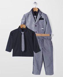 Robo Fry Party Wear 3 Piece Coat Suit - Grey Black