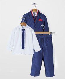 Robo Fry Party Wear 3 Piece Coat Suit - Blue White