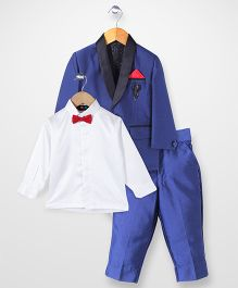 Robo Fry Full Sleeves Coat And Shirt With Brooch - Blue White