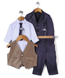 Robo Fry Party Suit Shirt Waist Coat And Tie - Dark Purple White