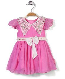 Chocopie Short Sleeves Party Frock Bow Applique - Pink