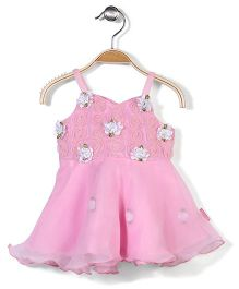 Chocopie Singlet Party Frock Floral Appliques - White