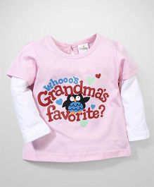 Babyhug Doctor Sleeves Grandma's Favorite Print Top - Baby Pink