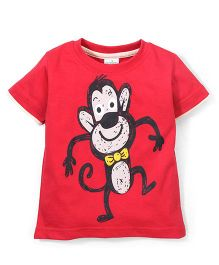 Babyhug Half Sleeves T-Shirt Monkey Print - Dark Red