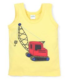 Babyhug Sleeveless Vest Crane Print - Yellow